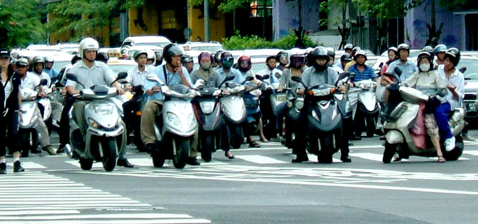 Scooters predominate in Taiwan
